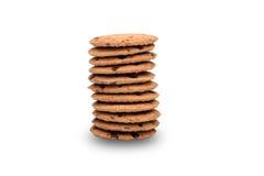 układ scalony czekoladowy ciastek sterty biel Fotografia Stock