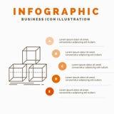 Uk?ada, projektuje, broguje, 3d, pude?kowaty Infographics szablon dla strony internetowej i prezentacja, Kreskowa Szara ikona z P royalty ilustracja