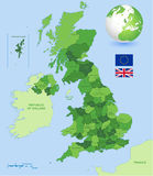 Uk Administrative Green Map Set. A High Detail vector Map of United Kingdom Regions, Administrative Regions and major cities and a vector globe with UK Stock Photography
