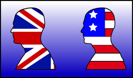 UK And American Head. This is some illustrated head with the Union Jack and the American flag Stock Photo