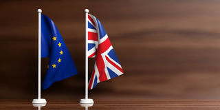 Free UK And EU Flags On Wooden Background. 3d Illustration Royalty Free Stock Photography - 87882227