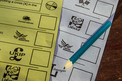 UK Ballot Papers. BASINGSTOKE, ENGLAND - MAY 15, 2014: Ballot papers for the local and European Parliamentary elections to be held on May 22nd 2014 Royalty Free Stock Photos