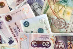 Uk Bank Notes various amounts 10 20 50 5 Royalty Free Stock Photo