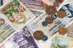 Uk Bank Notes various amounts. Scottish 10 20 50 pound notes and various uk coins Royalty Free Stock Photo