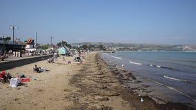 UK beach and coast Swanage Dorset England PAN stock video
