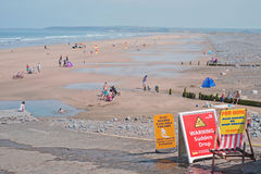 UK beach scene in early summer Royalty Free Stock Image