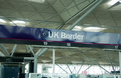 Uk Border. Airport passport control in UK Royalty Free Stock Photography