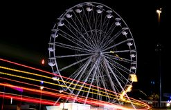 UK. Bournemouth Big Wheel with light trail. Ferris wheel near Bournemouth Pier, photographed at night. royalty free stock image
