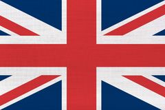 UK british flag. On linen fabric in hi res background stock photo