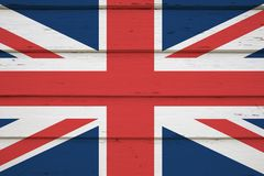 Uk british flag. On wood stock photos