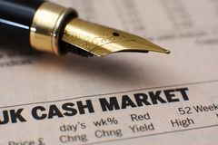 UK cash market. Close up of UK cash market Stock Image