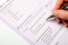 Uk Census 2011. The 2011 Census form being completed Royalty Free Stock Photography