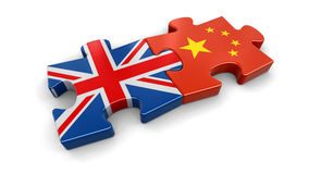 UK and China puzzle from flags. Image with clipping path stock illustration