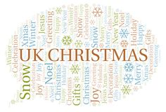Uk Christmas word cloud. Wordcloud made with text only vector illustration