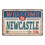 UK cities retro newcastle welcome to Vintage sign. Travel destinations theme on old rusty background. Vintage sign Travel destinations theme on old rusty royalty free illustration