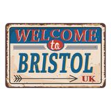 UK cities retro welcome to Bristol Vintage sign. Travel destinations theme on old rusty background. Vintage sign Travel destinations theme on old rusty royalty free illustration