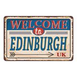 UK cities retro welcome to Edinburgh Vintage sign. Travel destinations theme on old rusty background. Vintage sign Travel destinations theme on old rusty vector illustration