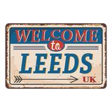 UK cities retro welcome to Leeds Vintage sign. Travel destinations theme on old rusty background. Vintage sign Travel destinations theme on old rusty background stock illustration