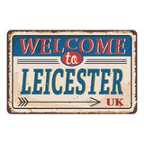 UK cities retro welcome to Leicester Vintage sign. Travel destinations theme on old rusty background. Vintage sign Travel destinations theme on old rusty stock illustration