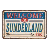 UK cities retro welcome to Sunderland Vintage sign. Travel destinations theme on old rusty background. Vintage sign Travel destinations theme on old rusty vector illustration