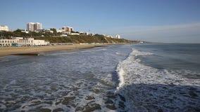 UK coast and beach Bournemouth Dorset England near to Poole stock video footage