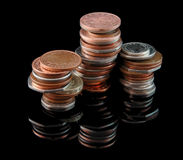 UK Coin Stack. A stack of Uk (sterling/pounds), coins on a black background Royalty Free Stock Images
