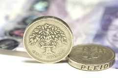 UK Coins and £20 note Stock Images