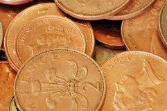 UK Coins - 2ps. A shot of lots of UK sterling 2p coins Royalty Free Stock Photos