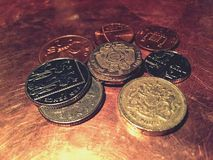 UK coins. UK coin currency Royalty Free Stock Photos