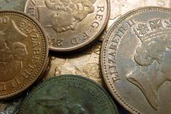 UK Coins. With queen Elizabeth II Royalty Free Stock Images