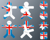 UK collection of peeling stickers. Vector illustration of eight different peeling stickers in UK flag theme Stock Images