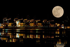 UK Container Port at Night Royalty Free Stock Photography
