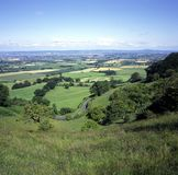 UK, Cotswolds, Nympsfield, Frocester Hill, Coaley Peak viewpoint, View over Severn Vale. England, Cotswolds, Gloucestershire, Nympsfield, Frocester Hill, Coaley Royalty Free Stock Photos