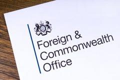 UK Cudzoziemski i wsp?lnota narod?w biuro obrazy royalty free