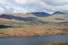 View across Coniston Water UK. UK Cumbria. English Lake District National Park. Coniston Furness UK. View across Coniston Water towards the English Lake District stock photo