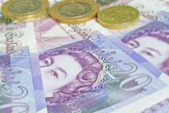 UK currency. New twenty pound note currency shot Royalty Free Stock Image