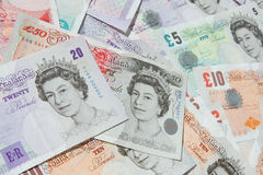 UK Currency Banknotes Money. UK pound notes cash background Royalty Free Stock Photography