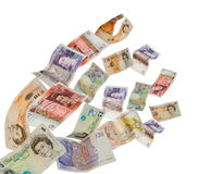 UK currency. Shot as if flying away Stock Photo