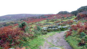 UK Dartmouth Dartmoor Hound Tor. UK Dartmouth - Dartmoor. Hound Tor, situated within a few minutes from the B3387 between Bovey Tracey and Widecombe-in-the-Moor Royalty Free Stock Images