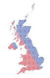 UK Dot Map Red and Blue Stock Photo