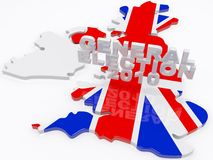 UK Election 2010. The united kingdom draped in a union jack with general election 3d text hovering Royalty Free Stock Photo