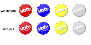 UK election 2010 vector. UK election 2010 with set of 8 vote badges, bottom four showing 6th May 2010 - day of the election in vector format Royalty Free Stock Photos