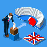 UK Election concept English people vote and isometric ballot box Royalty Free Stock Photo