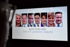 UK Election TV Debate. A viewer watches election live TV debate on a computer monitor on April 2, 2015 in London, UK. The UK goes to the polls on May 7 in the Stock Photography