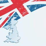 UK eller brittisk flagga eller översikt. Royaltyfri Bild
