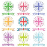 Uk emblems and ribbons Stock Photos