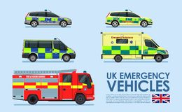 UK Emergency vehicles cars, police car, ambulance van, fire truck isolated on blue background. UK Emergency vehicles cars, police car, ambulance van, fire truck Stock Photo