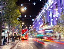 Uk, England, London Oxford street shops Christmas. Illumination lights decorated New 2015 Year Royalty Free Stock Image
