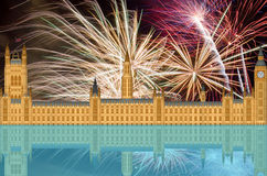 UK England London Skyline with Fireworks Royalty Free Stock Image