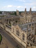UK, England, Oxfordshire, Oxford, All Souls College. View of All Souls College from St Marys Church in Oxford Royalty Free Stock Photography